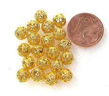 Perlen 20 Stück  Metallperlen filigran goldfarben 6mm