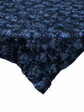 "10 Navy Blue 54""x54"" Rosette Rose Satin Table Overlays Tablecloths Event Wedding"