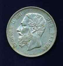 BELGIUM  1873  5 FRANCS SILVER COIN,  ALMOST UNCIRCULATED+