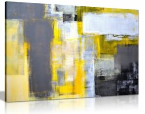 Office Art Grey And Yellow Abstract Art Painting Canvas Wall Art Picture Print