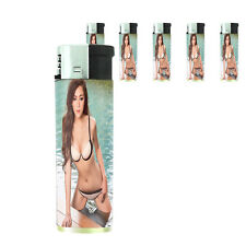 Thai Pin Up Girl D6 Lighters Set of 5 Electronic Refillable Butane