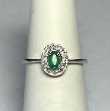 NUOVO, Argento Sterling ORIGINALE Ovale Smeraldo e diamante da donna anello