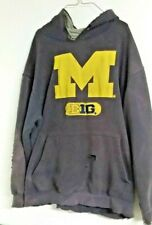 vtg UNIVERSITY of MICHIGAN HOODED SWEATSHIRT HOODIE DISTRESSED VERY WORN HOLEY