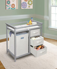 Badger Basket Modern Changing Table w/3 White Baskets & Hamper - Gray 25033 New