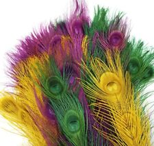 """50 Pcs BLEACHED PEACOCK TAILS - ASSORTED Colors Feathers 10-12"""" Bridal/Halloween"""