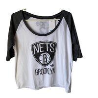 NWT $38 Adidas Originals Brooklyn Nets T-shirt Women's Size Large Raglan Top New