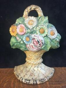 Antique Vintage Cast Iron Doorstop Mixed Flowers in Basket Bookend Daisies Rose