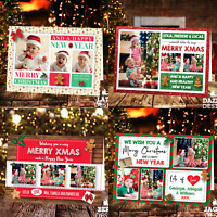 Personalised Christmas Cards Xmas Photo Folded Postcards Boy Girl Children Pack