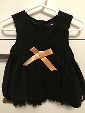 MEXX Baby Girl Black Tulle Party Dress gold bow Holiday 9-12 months