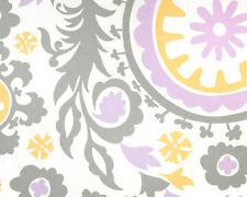 Drapery Upholstery Fabric 7 oz. 100% Cotton Retro Print - Lavender, Gray, White