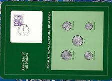 Coin Sets of All Nations Albania UNC 1 lek, 50, 20, 10, 5 Qindarka 1969 w/card