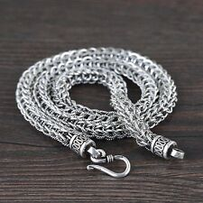 Solid 925 Sterling Silver Mens Heavy Byzantine Chain Clasp Necklace 55cm