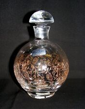 GOLD etched CZECH BOHEMIAN GLASS CRYSTAL APOTHECARY VASE / JAR w/Stopper