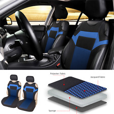 Polyester Fabric T-shirt design Front 2 Seat Car Cover Accessories Black/Blue