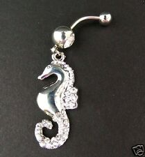 Seahorse Belly Ring Navel Bar Clear Cz Gem Jewels Surgical Steel Body Jewelry