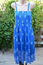 Autograph Boho Navy Shirred Bust Sundress Beach Summer Party Dress 20 Pockets