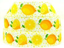 "Grosgrain Ribbon 7/8"" & 1.5"" Yellow Lemon Prints Spring Summer Fruits Printed"