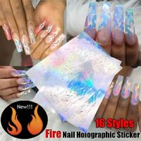 1Pc 16 Styles Holographic Fire Flame Hollow Stickers Fires Nail Art Sticker