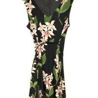 Tommy Hilfiger Floral Sheath Dress With Belt midi vneck knit blend 12 EUC