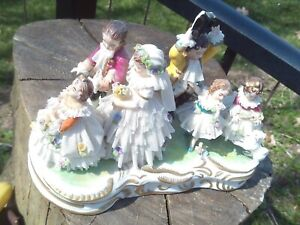 GERMAN  PORCELAIN DRESDEN LACE WEDDING GROUP FIGURINE