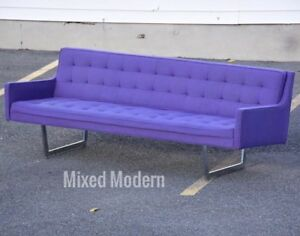 Modern Chrome & Purple Sofa By Patrician Mid Century
