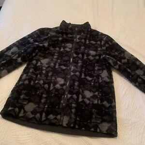 FLEECE JACKET Black grey kids boy girl reversible coat size 10/12