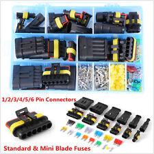 Car Waterproof Electrical Connector Terminal 1/2/3/4/5/6 Pin Way+Blade Fuses Kit