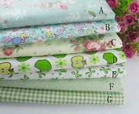 "Green (19""x19"") Fat Quarter Bundle Quilt Quilting 100%cotton Fabric Sewing Craft"