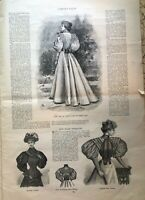 Antique page from 1899 Harpers Bazaar Magazine, used for art