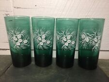 Vintage Evergreen & Pinecone Glass Tumblers Teal Green Set Of Four