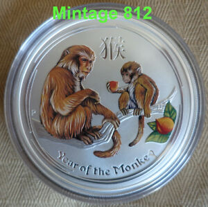 """5 oz colorized Lunar II silver coin 2016 Year of the Monkey """" very rare """""""