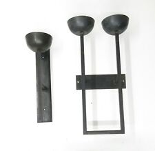 Vtg Handcrafted Heavy Iron Mid Century Modern Modernist Candle Sconce Set
