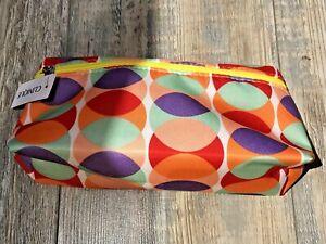 BNWT CLINIQUE Pencil Case Wash Make-up Colourful Circles 70's Bag 100% Genuine