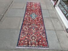 Vintage Traditional Hand Made Oriental Red Pink Wool Long Narrow Runner 253x76cm