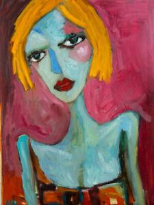 "Original Portrait Art Painting on Stretched Canvas 20"" x 16"""
