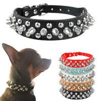 2.5cm Breit Hundehalsband Leder Stachelhalsband Katzenhalsband Schwarz XS S M