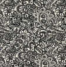 Onyx Black White Abstract Garden Paisley Flower Tweed Damask Upholstery Fabric