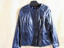 "HAL RUBENSTEIN~""ERIN"" Lambskin Leather Asymmetrical Jacket~Cadet Blue~Medium~NWT"