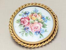 Antiguo Broche con Porcelana Malerei,Motivos Florales,Limoges France