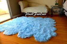 5' x 6' Blue Sheepskin Baby Boy Area Rug Decorative Modern Nursery Handmade