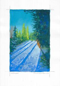 original painting A4 241MA art samovar Gouache landscape winter forest Signed