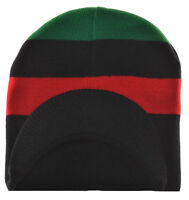 MM Red Black and Green Pan-African Flag Inspired Beanie Cap