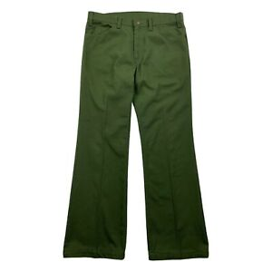Vintage 70s Levis Sta-Prest Green Pants Mens Size 34x30 USA Made Talon Zipper