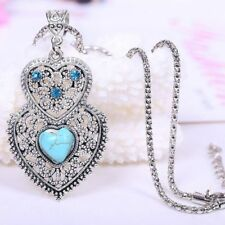 Vintage Inlay Hollow Turquoise Double Heart Jewelry for Women Necklace Chain
