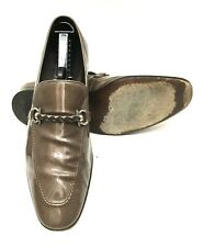Salvatore Ferragamo Gancini Horsebit Patent Leather Mens Bronze Sip On Sz 10 EE