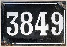 Large old black French house number 3849 door gate plate enamel metal sign