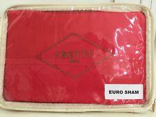 """Frette Euro Pillow Sham Italy Dome Bord 1x Coral Red 26x 26"""" Fine Linen New $225"""