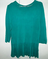 Ladies Portmans Size M Knit Look Top 3/4 Sleeve Jewel Green