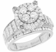 10K White Gold Genuine Baguette Diamond Cluster Engagement Ring 1 1/2 CT 11MM