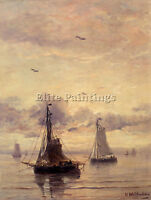 MESDAG HENDRIK WILLEM EVENING ANCHORAGE ARTIST PAINTING OIL CANVAS REPRO ART
